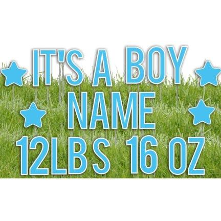 It's A Boy Yard Letters with Custom Name and Weight - FREE SHIPPING