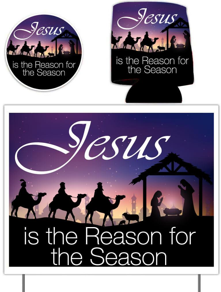 Jesus is the Reason Holiday Gift Pack - Yard Sign, Decal & Can Cooler - FREE SHIPPING