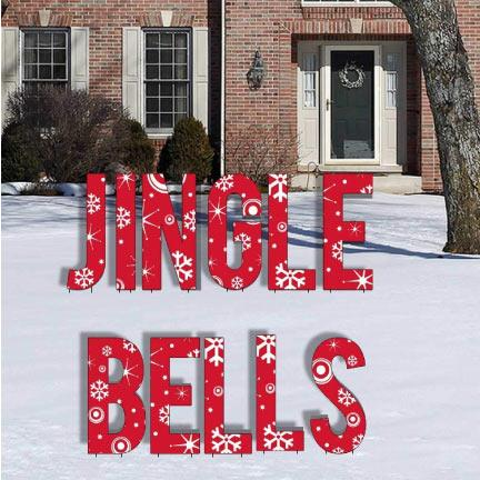 Red Snowflake Jingle Bells Letters Yard Card - FREE SHIPPING