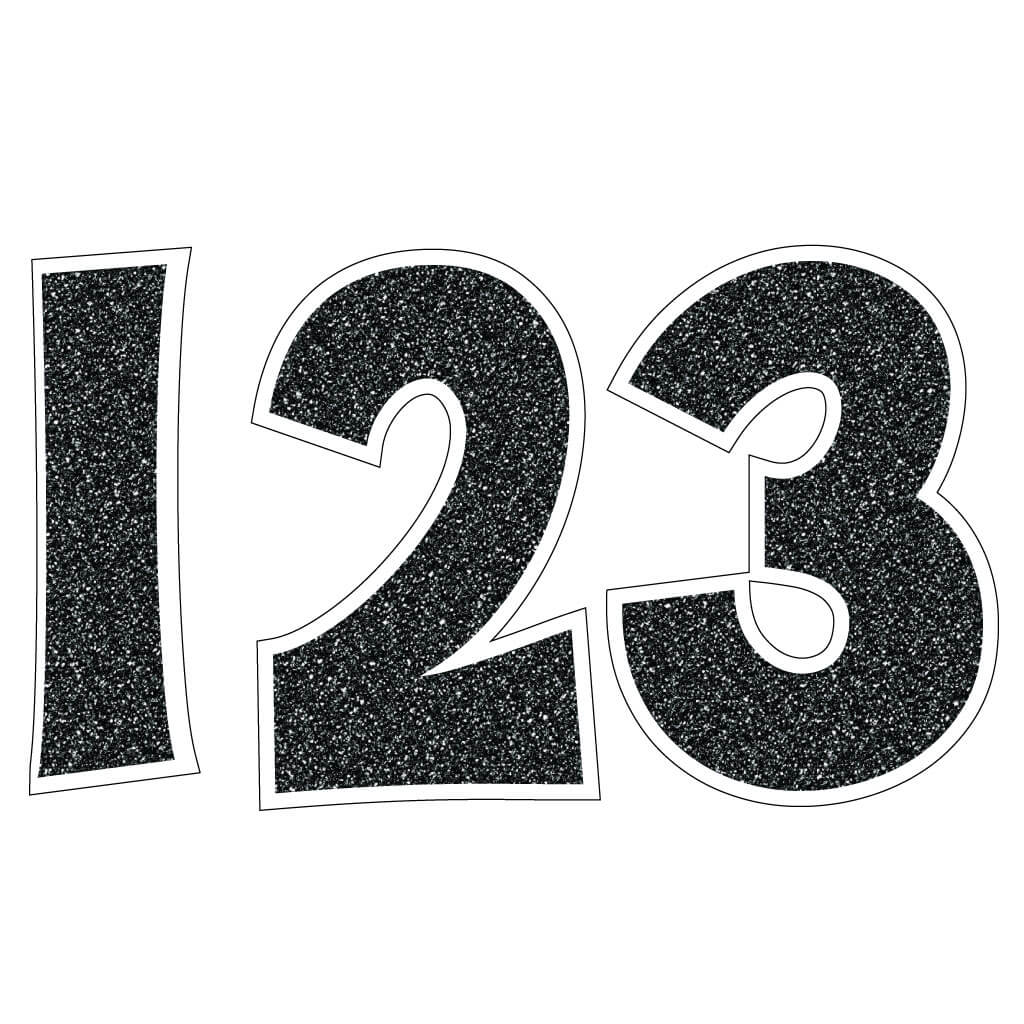 "KG The Last Time 24"" Yard Letters - Black Faux Glitter - Numbers 10 pc Set (13382)"