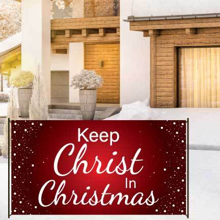Keep Christ In Christmas Red Snowfall Waterproof Vinyl Banner