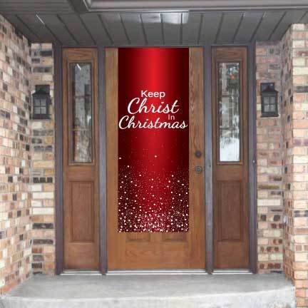 Keep Christ In Christmas Red SnowFall Door Banner