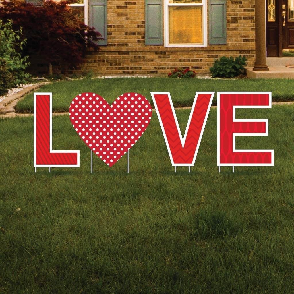 LOVE Valentine Yard Letters 4 pc Set