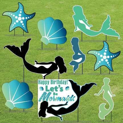 Let's Be Mermaids Blue Yard Decorations