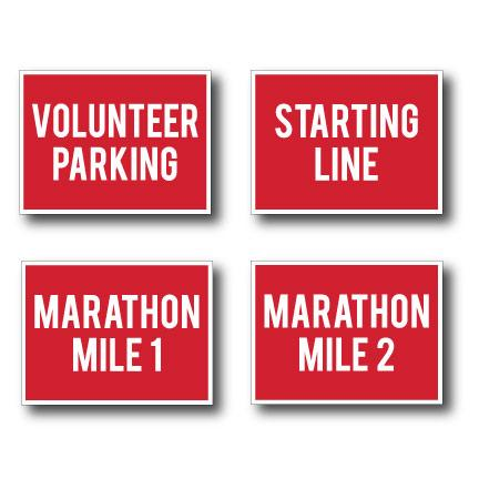 Marathon Race Yard Sign Package Red