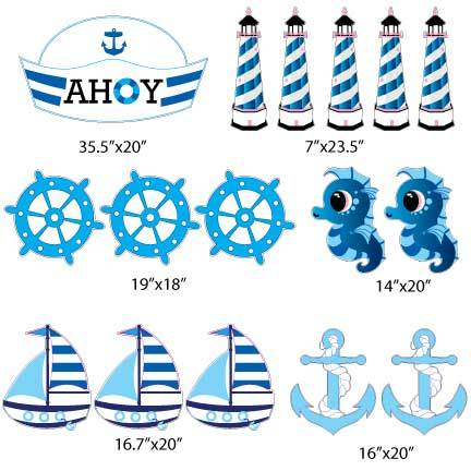 Ahoy Nautical Boy Yard Signs & Decorations 16 piece set FREE SHIPPING