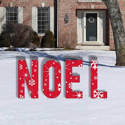 Red Snowflake NOEL Letters Yard Card - FREE SHIPPING