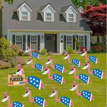 Patriotic Flockin Flamingos Yard Sign Decoration Kit - FREE SHIPPING