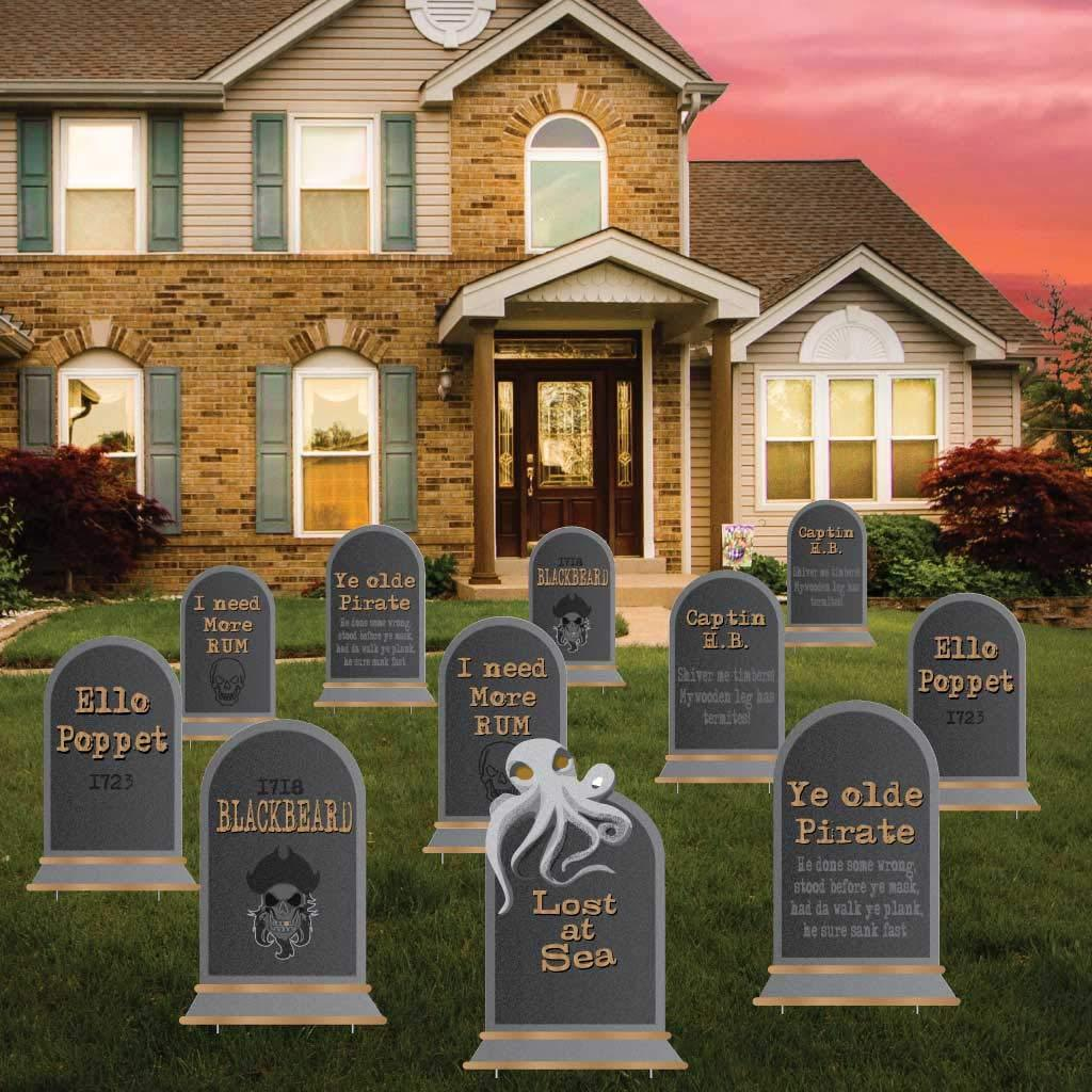 Pirate Tombstones Halloween Yard Decoration Set of 11 FREE SHIPPING
