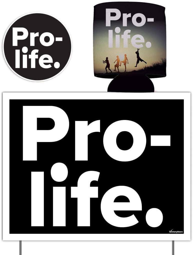 Pro Life Gift Pack - Yard Sign, Decal & Can Cooler - FREE SHIPPING