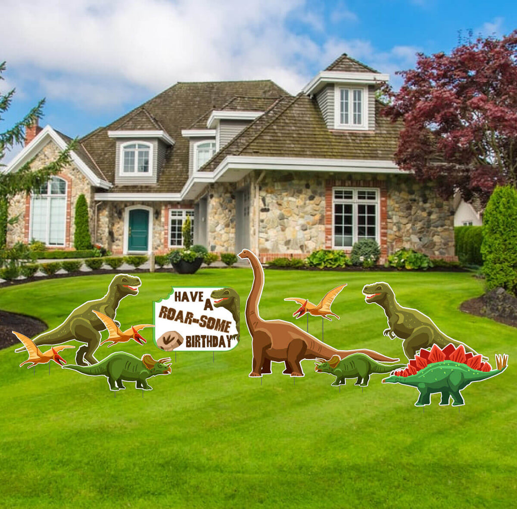 Roar-some Dinosaur Birthday Themed Yard Decoration - 10 pc set (13478)