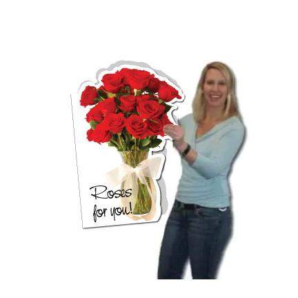 3' Stock Giant Roses Cut Card w/Envelope - Birthday