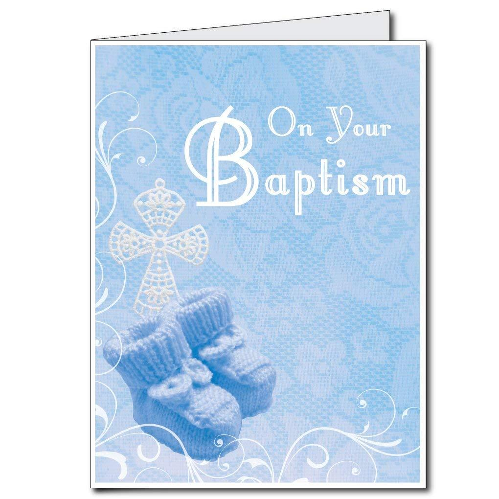 3' Stock Design Giant Baptism Card - Blue Boy Design w/Envelope