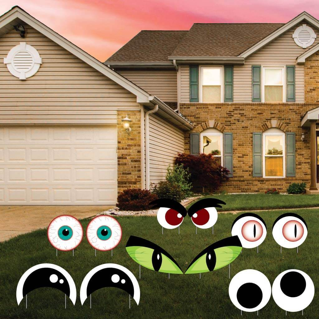 Scary Eyes Halloween Yard Decorations - 12 piece set