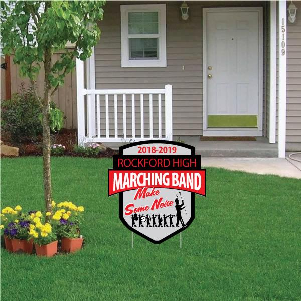 "Marching Band 22"" Shield Yard Sign with Banner"
