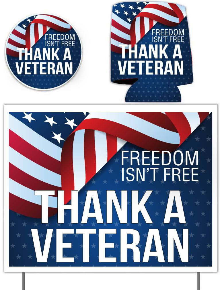 Thank A Veteran Gift Pack - Yard Sign, Decal & Can Cooler - FREE SHIPPING