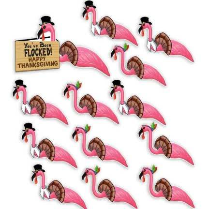 Thanksgiving Yard Greeting 'You've Been Flocked' Flamingoes - FREE SHIPPING