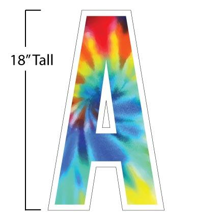 "Tie Dye Alphabet Letter Set Yard Greetings with Extra Letter Options - 18"" Tall"