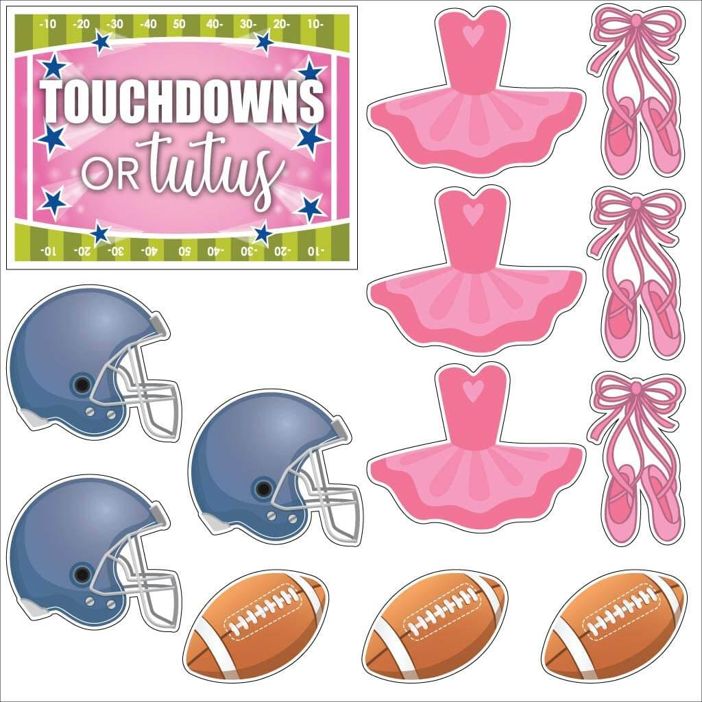 gender reveal touchdowns or tutus yard cards