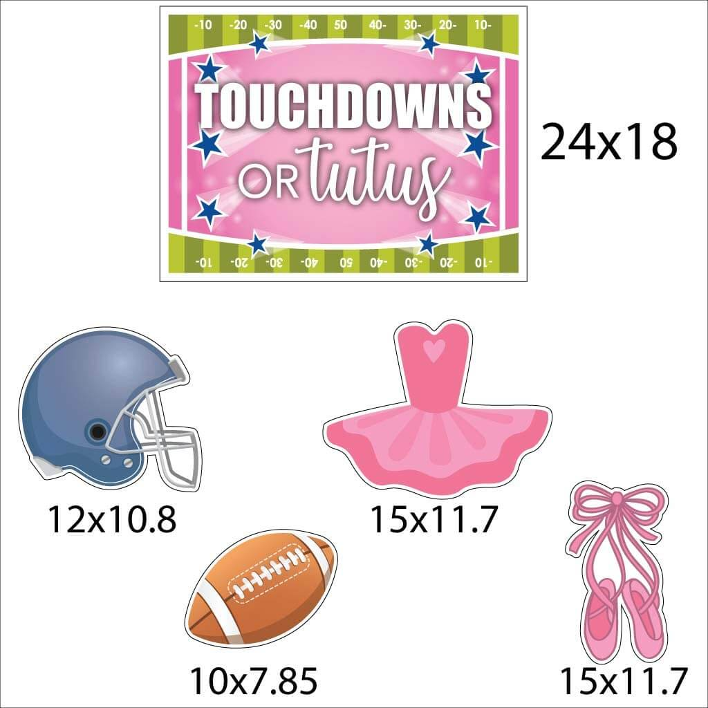 touchdowns or tutus yard signs for gender reveal parties