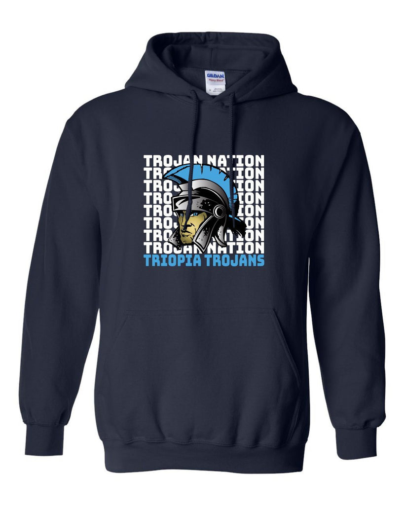 Triopia Trojans - Trojan Nation With Trojan Mascot Hooded Sweatshirt