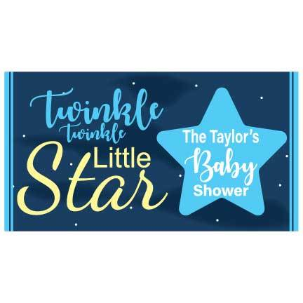 Custom Blue Baby Shower Banner - Twinkle Twinkle Little Star Waterproof Vinyl Banner