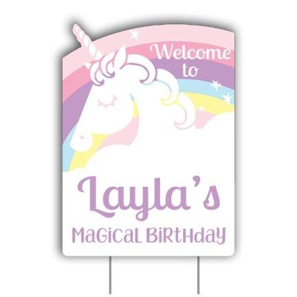 Custom Rainbow Unicorn Party Decoration Yard Sign - FREE SHIPPING