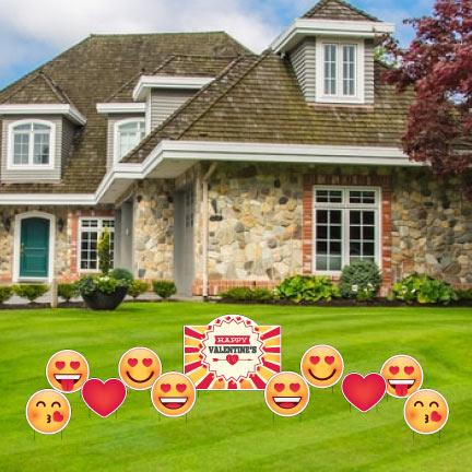 Valentine's Day - Valentine's Emojis Yard Sign & Outdoor Yard Decorations FREE SHIPPING