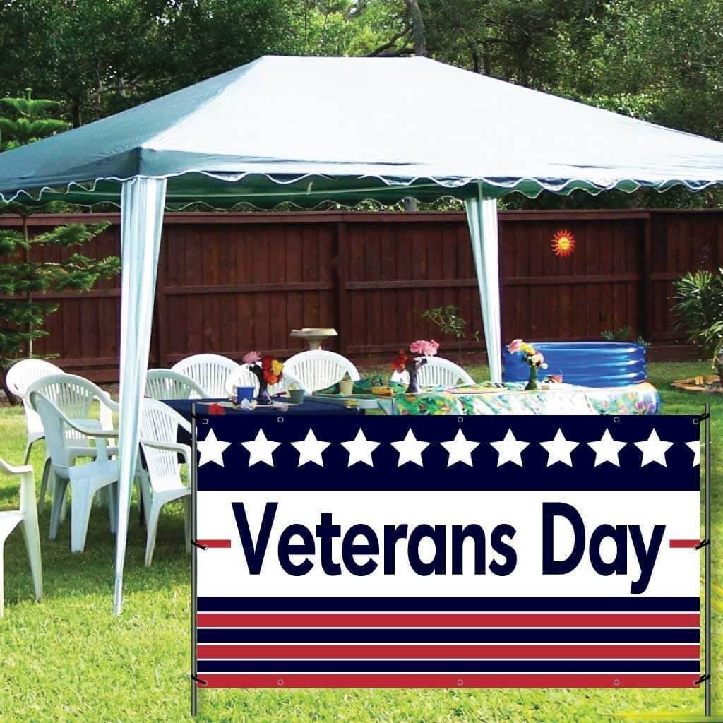 Veteran's Day Banner - Stripes Design - FREE SHIPPING