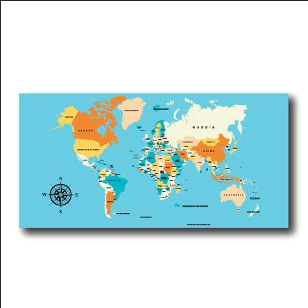 World Map 4'x8' Foldable Corrugated Plastic Sign FREE SHIPPING
