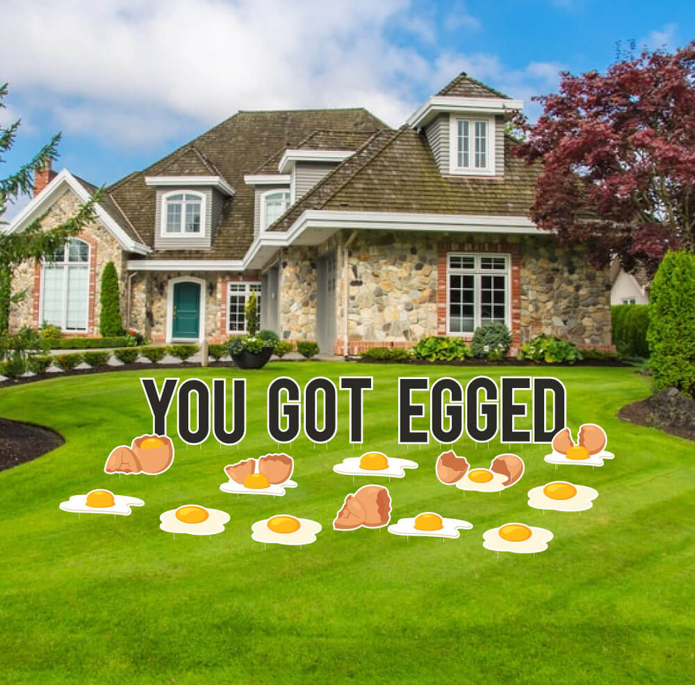 You Got Egged Yard Letter Decoration 23 pc set (13483)