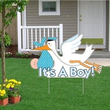 It's a Boy Birth Announcement Kit - Stork Yard Sign, Baby on Board and Baby Sleeping Signs - FREE SHIPPING