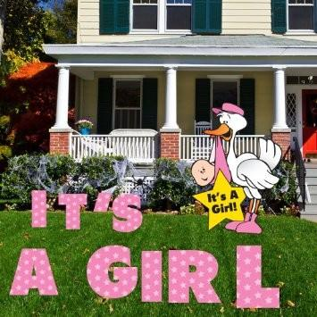 It's A Girl Yard Card - Extra Large (5ft) Stork (back easel) - Birth Announcement Yard Display - FREE SHIPPING
