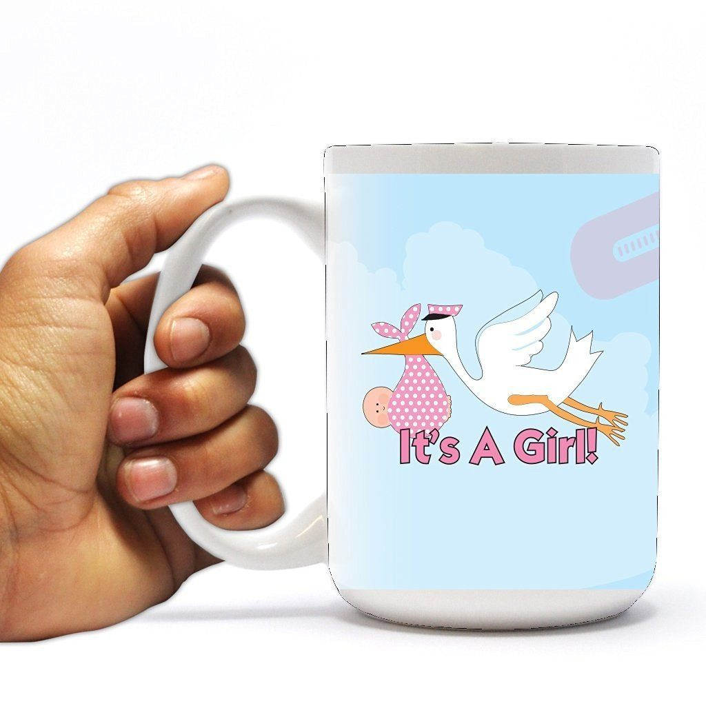 New Baby Coffee Mug - It's a Girl - Stork - 15 Oz