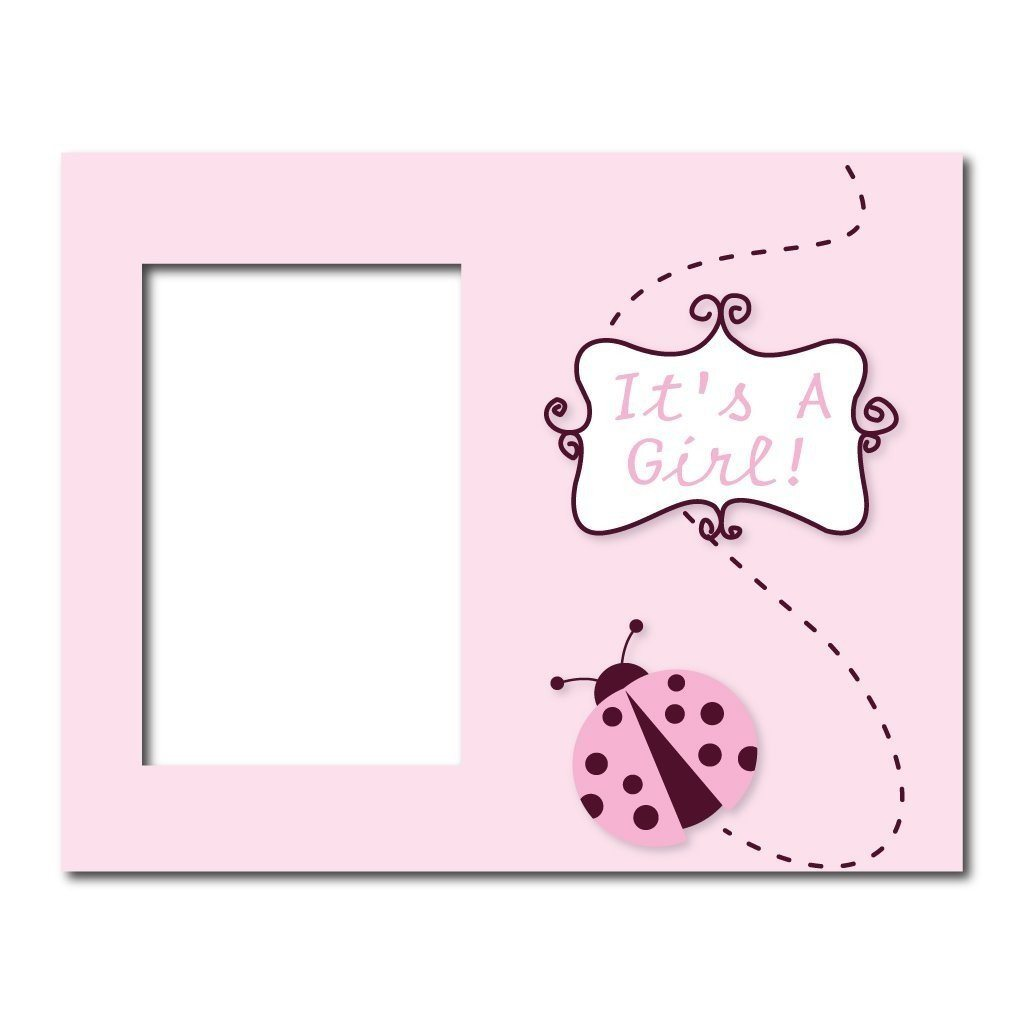 New Baby Girl Picture Frame #2 - It's a Girl! Pink Ladybug - Holds