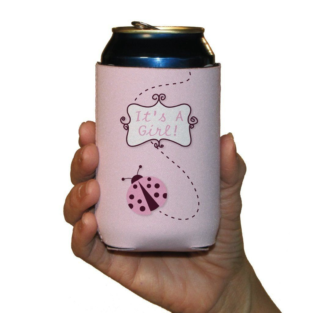 A singled its a girl themed can cooler