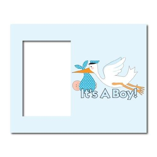 "New Baby Boy Picture Frame #1 - It's a Boy! Blue Stork - Holds 4""x6"" Picture"