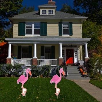 The front yard of a house with two pink flamingos