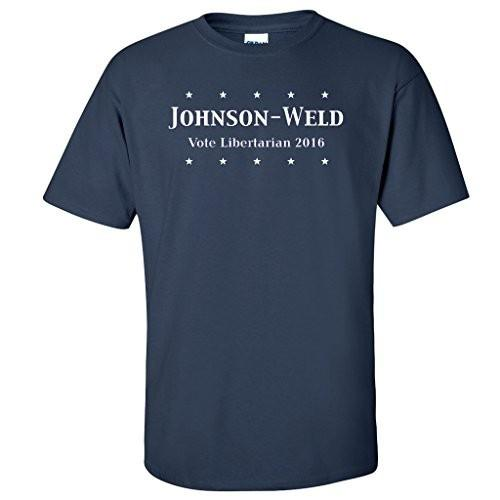 Johnson-Weld Vote Libertarian 2016 Navy T-shirt - FREE SHIPPING