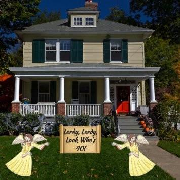 The Front Yard Of A House With Two Angels And Sign That Says Lordy 2D Template For Birthday Decorations