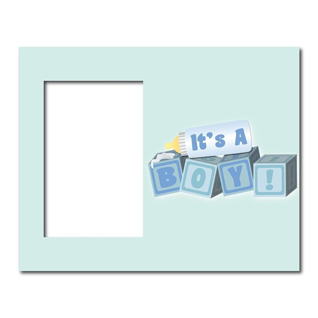 "New Baby Boy Picture Frame #4 - It's a Boy! Baby Blocks - Holds 4""x6"""