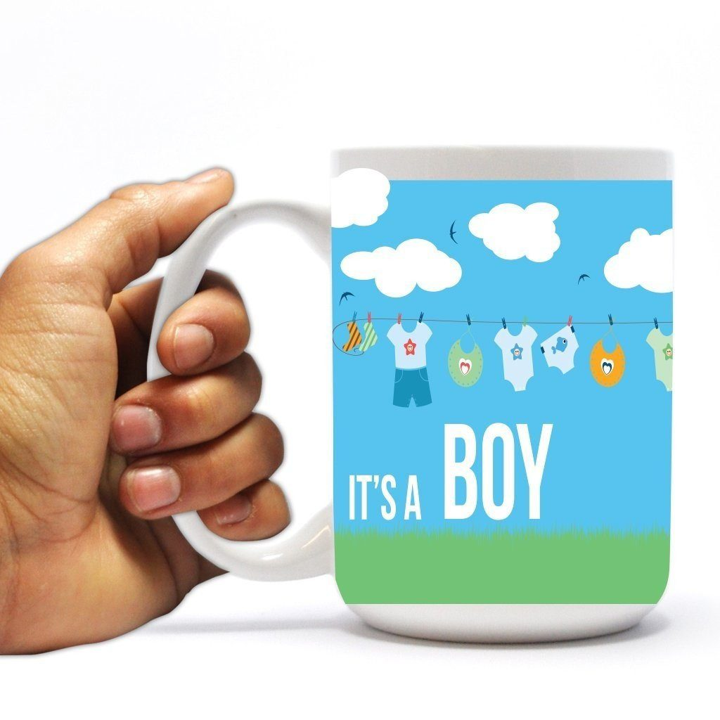 New Baby Coffee Mug - It's a Boy - Baby Clothes - 15 Oz