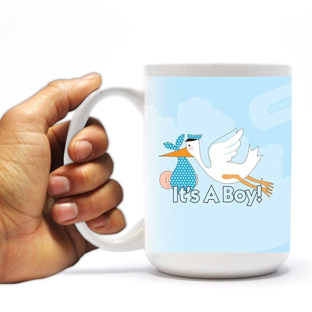New Baby Coffee Mug - It's a Boy - Stork - 15 Oz