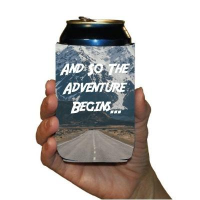 Custom Wedding Can Cooler- So the Adventure Begins