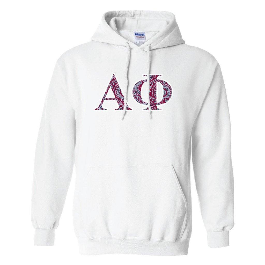 Alpha Phi Hooded Sweatshirt Greek Letters Design FREE SHIPPING