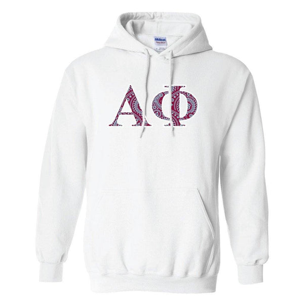 "Alpha Phi Hooded Sweatshirt Greek Letters Design "" White & Sport Gray"