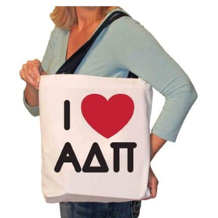 I Love Alpha Delta Pi Canvas Tote Bag