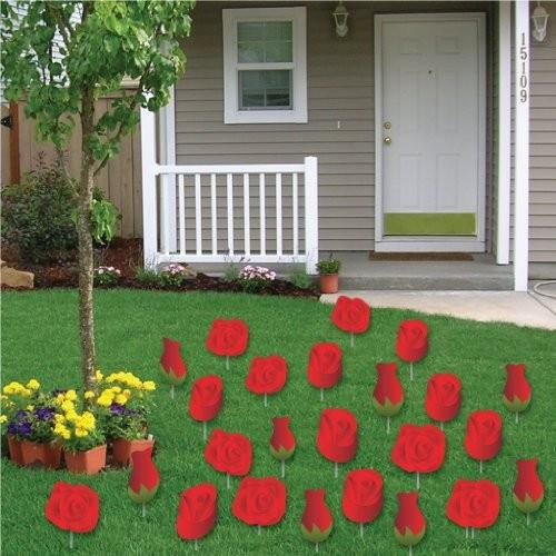 Valentine's Lawn Decorations - A Yard Full of Red Roses (Set of 24)