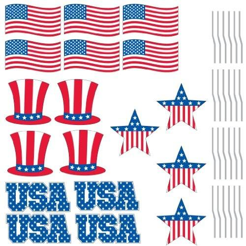 American flag, patriotic hat, USA text, and patriotic start 2D template