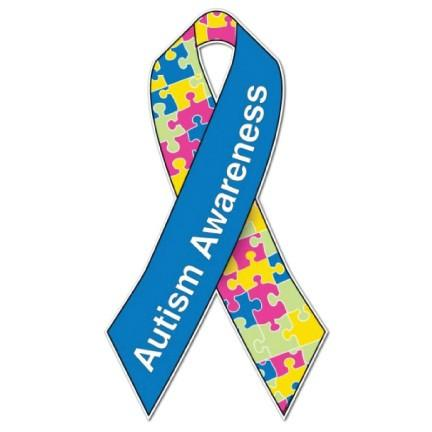 Autism Awareness Ribbon Large Yard Sign With EZ Yard Stakes